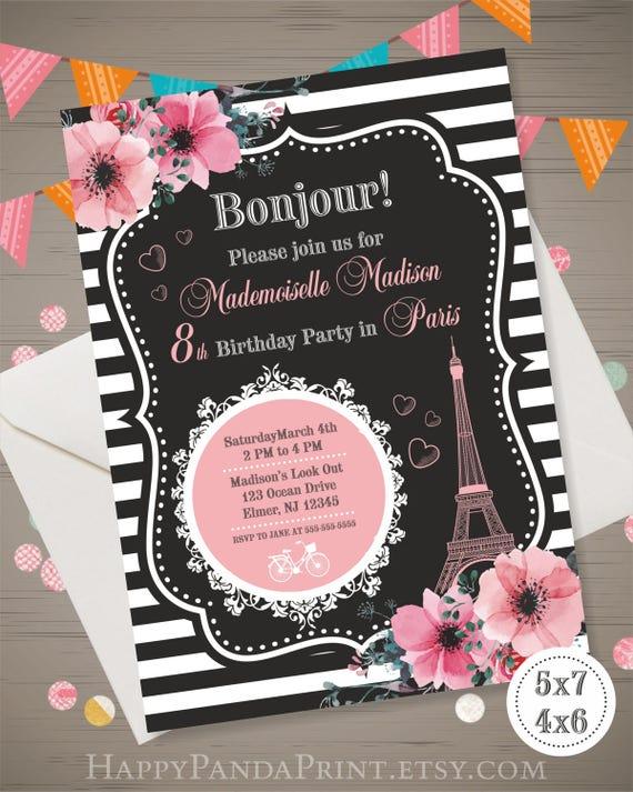 Invitación De París París Fiesta De Cumpleaños Torre Eiffel Invitación París Invitar Torre Eiffel Invitar Fiesta Francesa Invitación Oh La Invitación