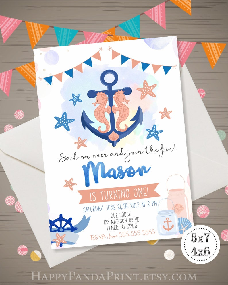ANCHOR Birthday Invitation Boy NAUTICAL