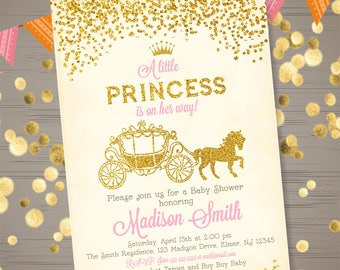Princess Baby Shower Invitation Princess Carriage Baby Shower Invitation Pink Gold Glitter Princess Baby Shower Invite Carriage Invitation
