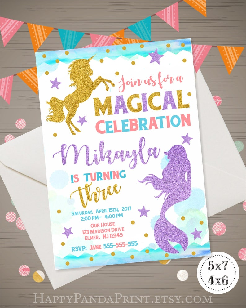 Unicorn And Mermaid Invitation Magical Birthday