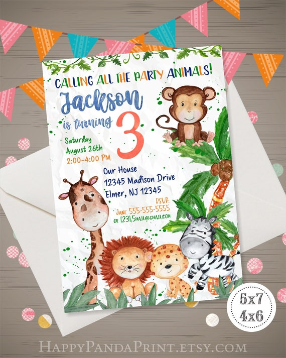 Safari Birthday Invitation Watercolor Boys