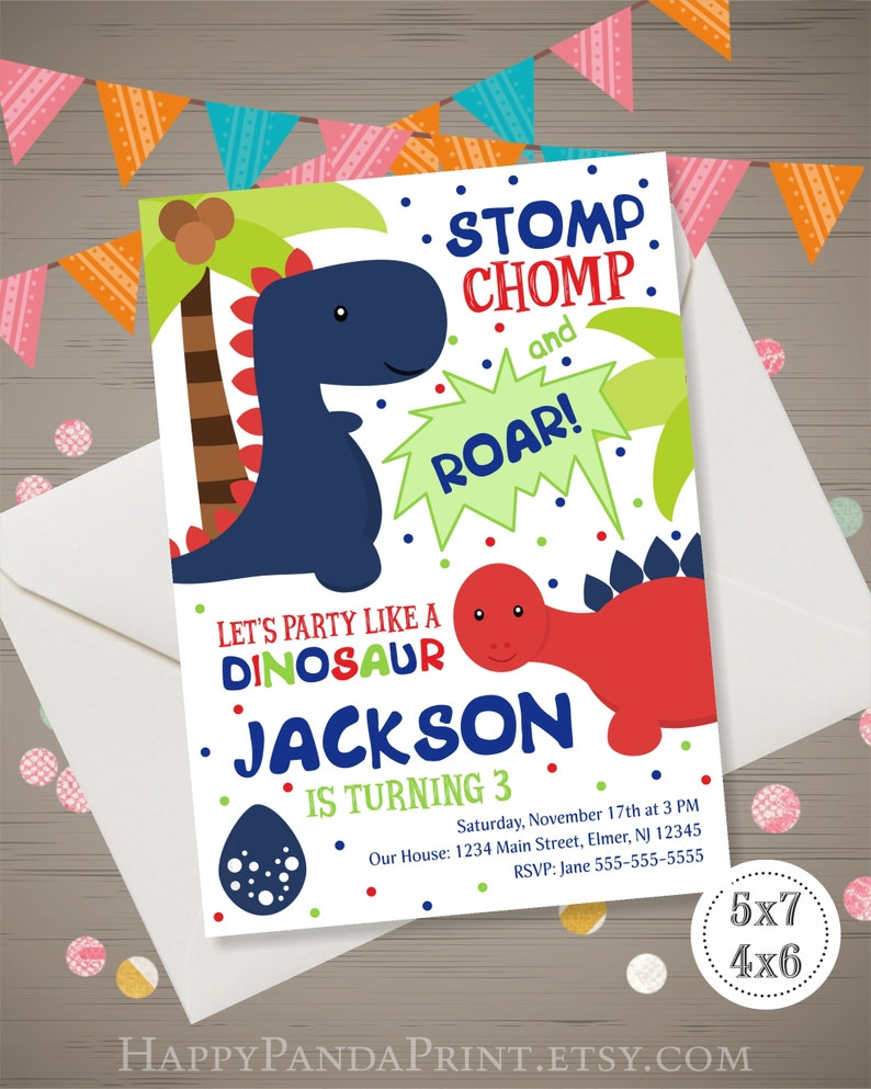 Dinosaur Birthday Invitation Boy Invite Party 1st 2nd 3rd 4th Digital