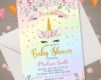 Unicorn Face Baby Shower Invitation, Watercolor Baby Shower, Pink & Gold Floral Unicorn Rainbow Invitation, Girl Baby Shower, Unicorn Party