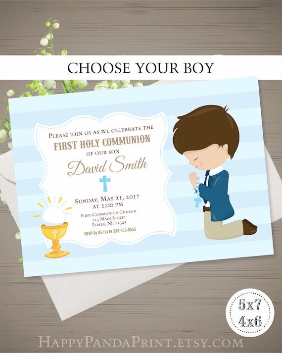 First Communion Invitation Boy First Holy Communion Etsy