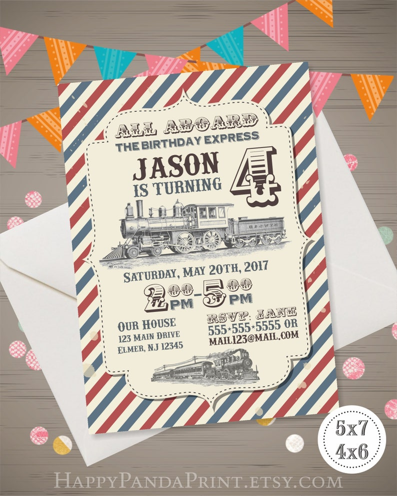 Vintage Train Birthday Invitation