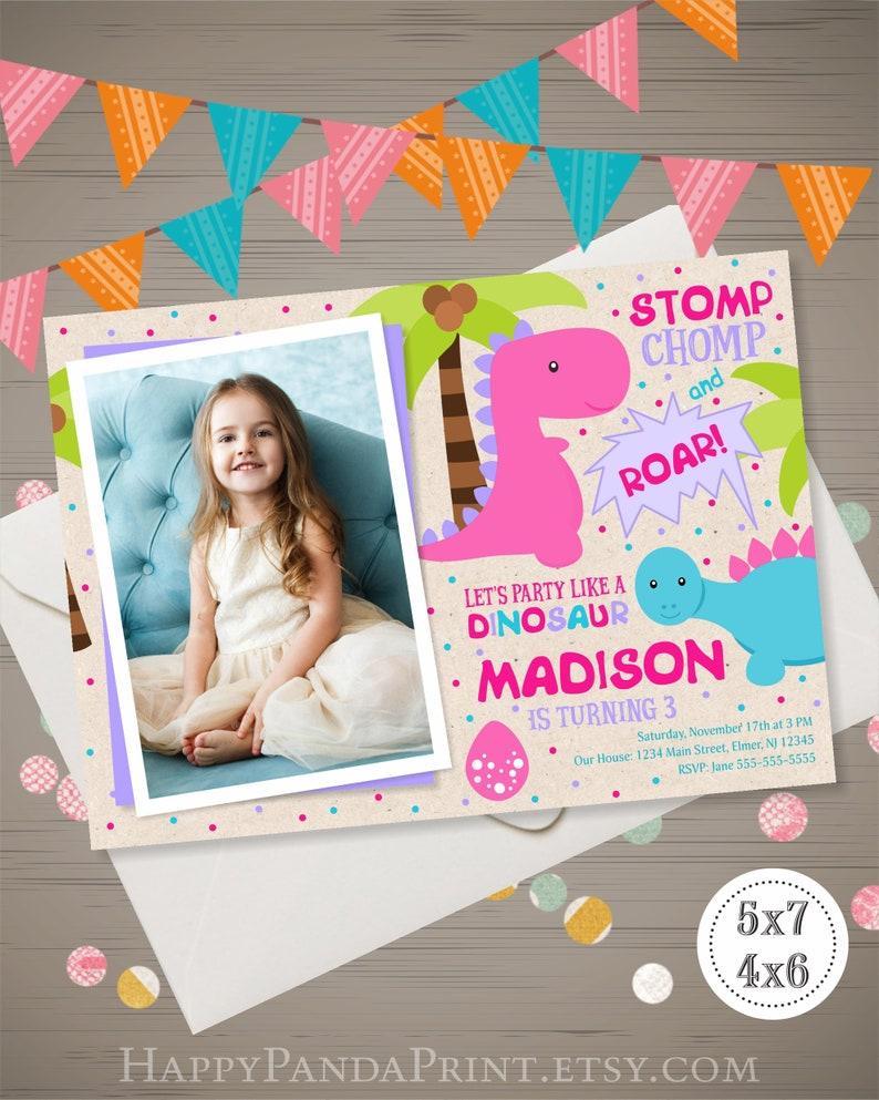 Dinosaur Birthday Invitation With Photo Girl Invite Party 1st 2nd 3rd 4th Digital