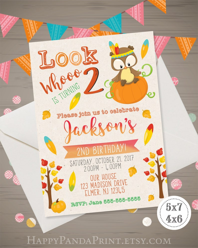 Owl Birthday Invitation Thanksgiving