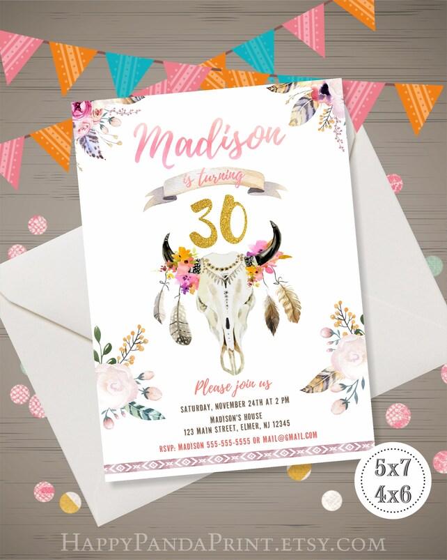 Boho Birthday Invitation Floral Skull Tribal 20th 30th 40th Invite DIGITAL PERSONALIZED