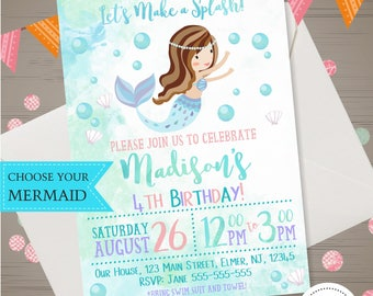 Mermaid Birthday Invitation Watercolor Mermaid Invitation Under the Sea Invitation Splash Bash Invite Mermaid Pool Party Teal Pink Purple
