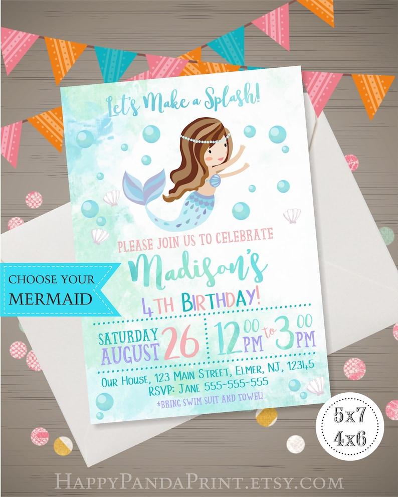 Mermaid Birthday Invitation Watercolor