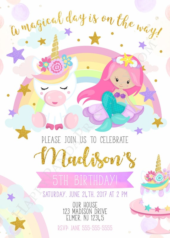 Unicorn And Mermaid Invitation Birthday Party