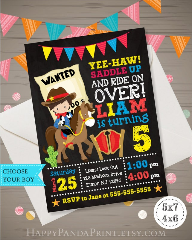 COWBOY Birthday Invitation Cowboy Invitation Cowboy Birthday Party Wanted Birthday Party Boy Western Invitation Boy Western Party Invitation