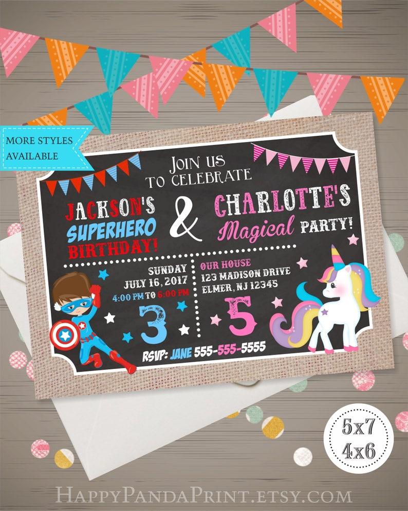 Unicorn Superhero Invitation Joint Birthday Party Sibling
