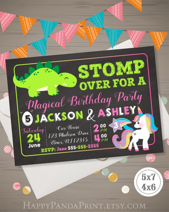 unicorn and dinosaur birthday invitation joint birthday etsy