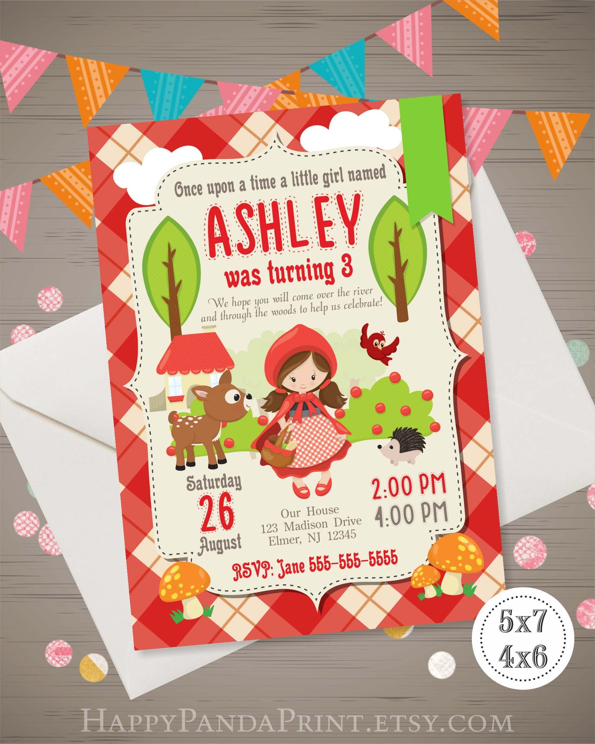 Red Riding Hood Invitation Red Riding Hood Birthday Party Etsy