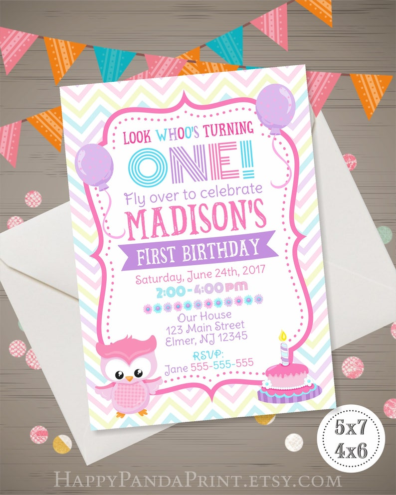 OWL Birthday Invitation Girl First Owl