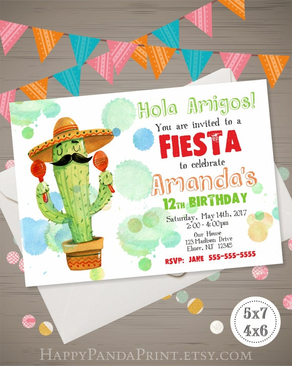 Fiesta Birthday Invitation Fiesta Invitation Watercolor Etsy
