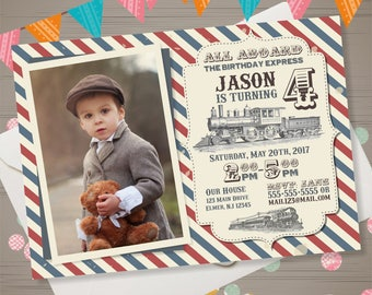Train Birthday Invitation with Photo, Vintage Train Invitation, Retro Train Party Invite, Railroad Birthday Invitation, All Aboard