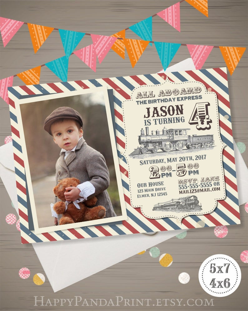 Train Birthday Invitation With Photo Vintage Retro Party Invite Railroad All Aboard