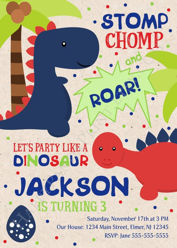 Dinosaur Birthday Invitation Boy