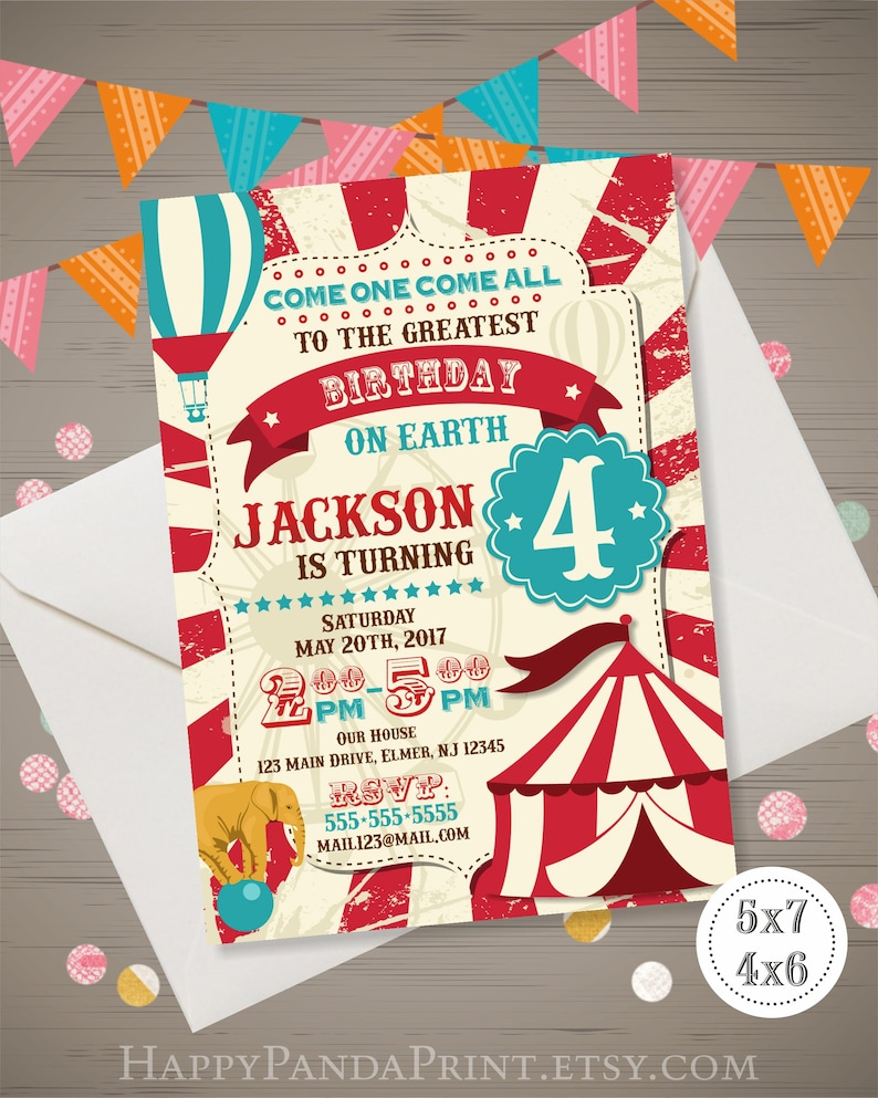 Circus Invitation Vintage Birthday