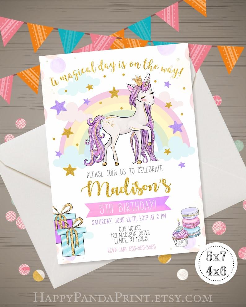 Unicorn Birthday Invitation Glitter Rainbow Magical Invite Party