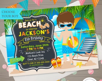 BOY BEACH PARTY invitation Beach Party Birthday Invitation Summer Birthday Party Summer Invite Tropical Hawaiian Invitation Swimming Party