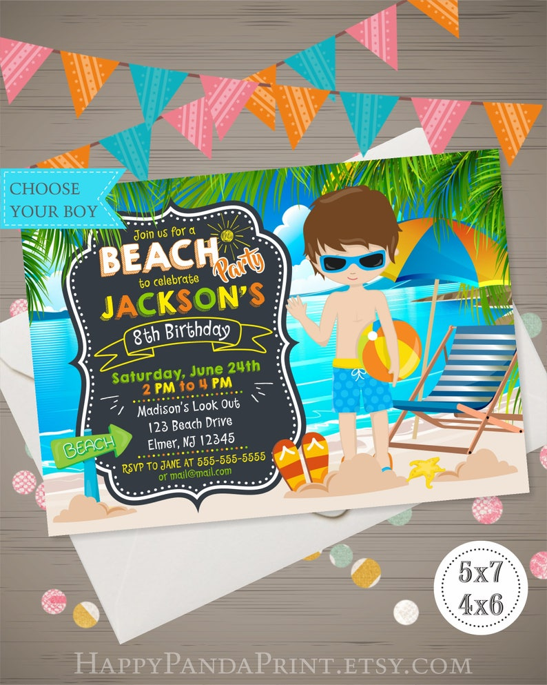 Beach Party Birthday Invitation Boy