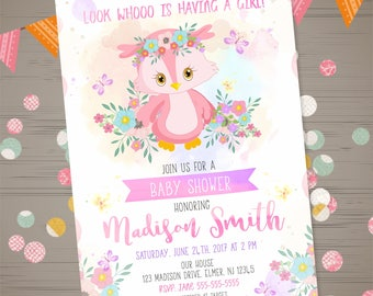 Owl baby shower invitation etsy owl baby shower invitation filmwisefo