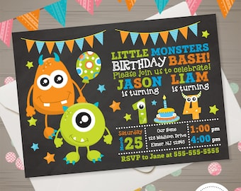 MONSTER Twins Birthday Invitation Joint Monster Invitation Monster Birthday Invite Little Monster Party Chalkboard Siblings Brothers Party