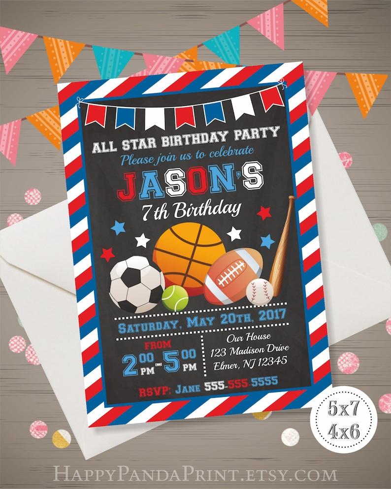 Sports Birthday Invitation All Star Boy
