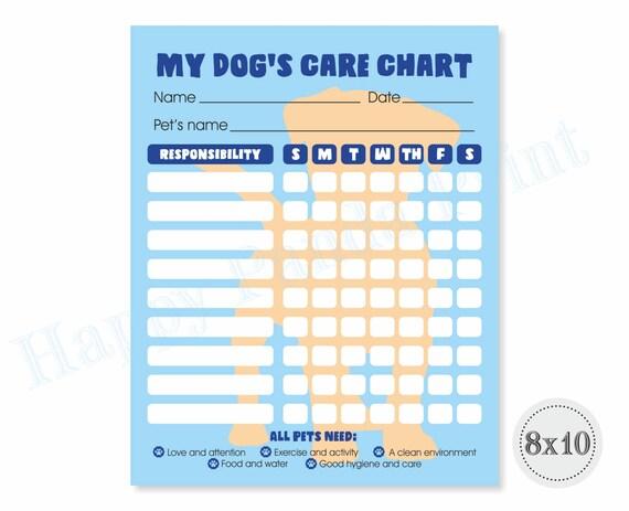 PET Responsibility Chart Dog Responsibility Chart Dog Care Etsy