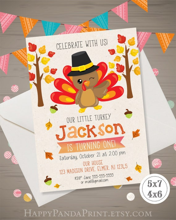 Turkey Birthday Invitation Thanksgiving