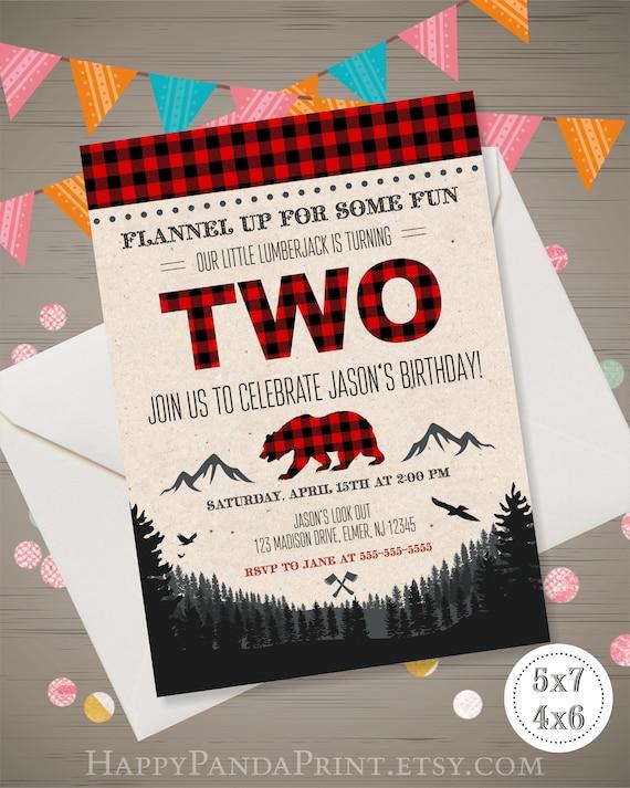 Lumberjack 2nd Birthday Invitation LUMBERJACK