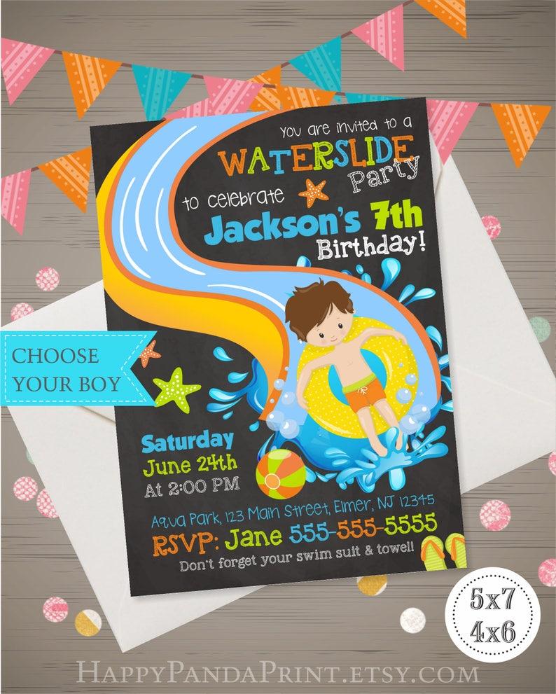 WATER SLIDE Invitation Waterslide Boys