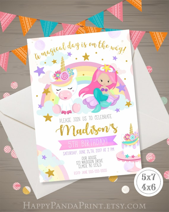 Unicorn And Mermaid Invitation Birthday Party