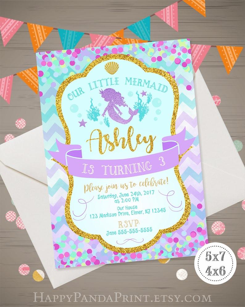 Mermaid 1st Birthday Invitation Little