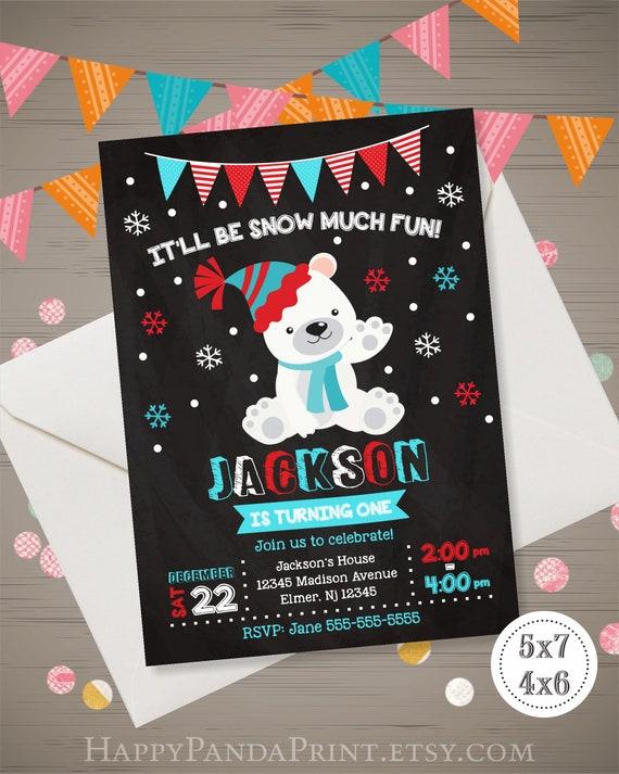 Polar Bear Birthday Invitation Snow Much Fun Boy