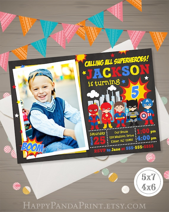 Superhero Birthday Invitation With Photo