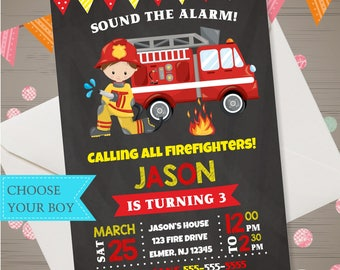 Fireman invitation for a firefighter birthday party