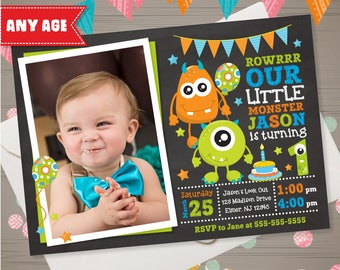 MONSTER Invitation with PHOTO Monster Birthday Invitation Monster 1st 2nd 3rd Birthday Little Monster Birthday Party Invite Chalkboard