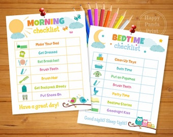 MORNING AND BEDTIME Checklist Printable, Morning Routine Checklist, Bedtime Routine Checklist, Morning & Bedtime Chart, Kids To Do Chart