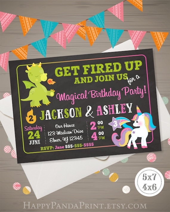 dragon unicorn invitation joint birthday party magical etsy