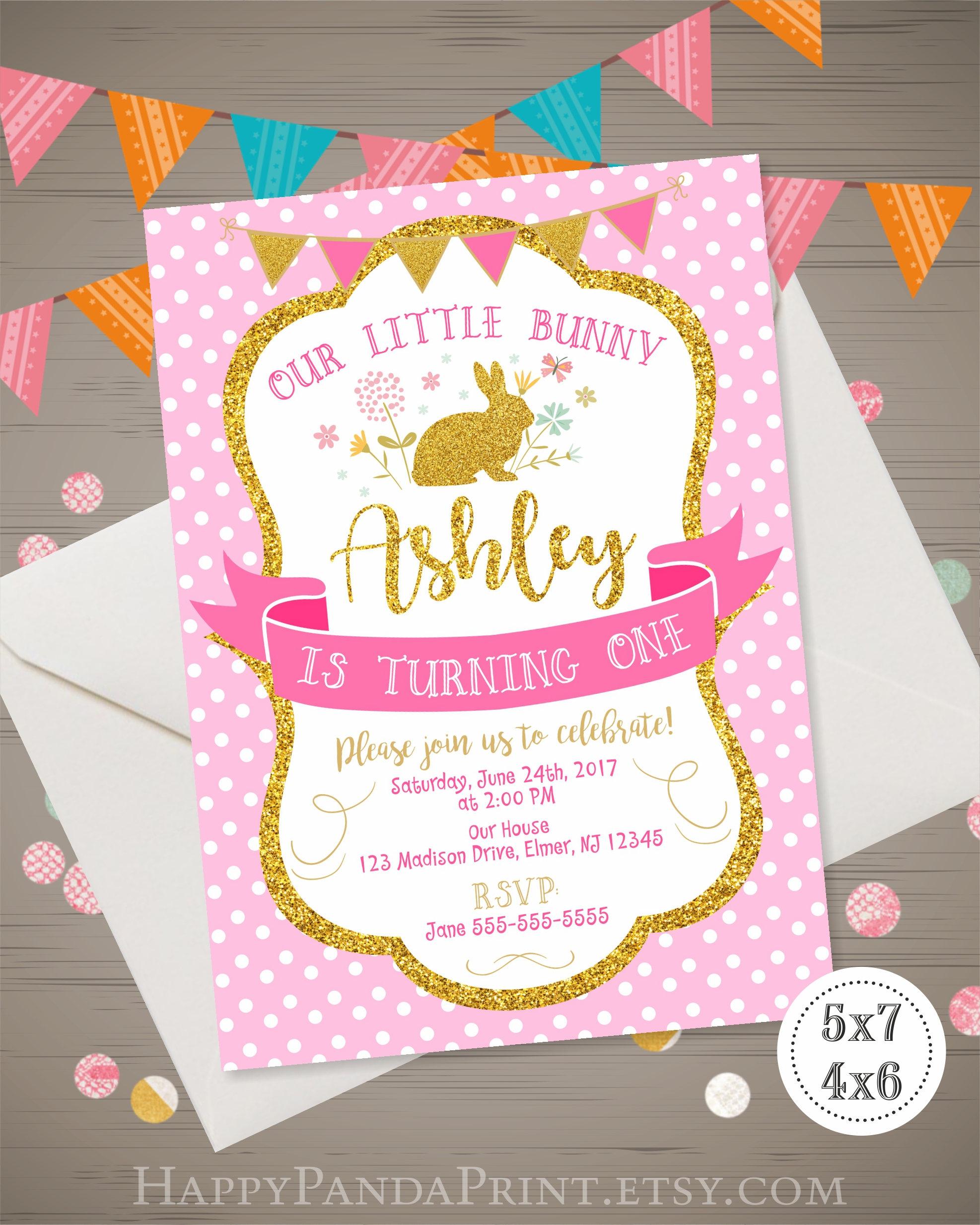 Bunny Birthday Invitation Girls Bunny Invitation Bunny 1st Etsy