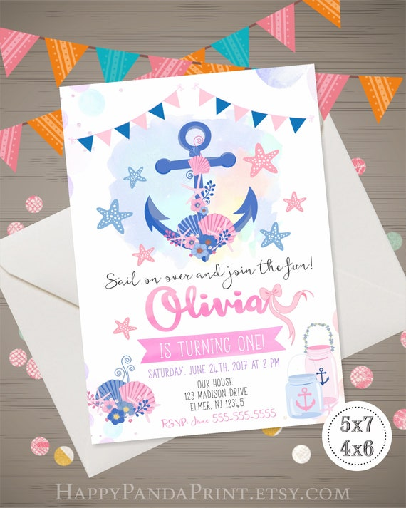 NAUTICAL Birthday Invitation Anchor Girl 1st Invite Under Th Sea Party Pink Navy Watercolor Floral
