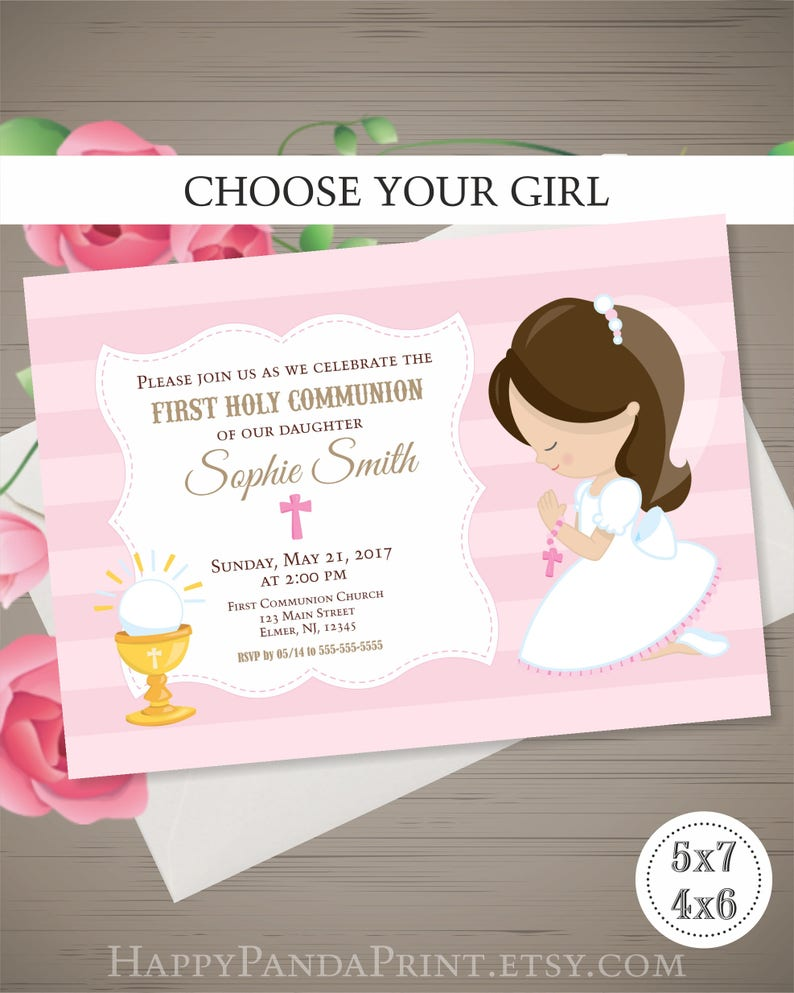 FIRST COMMUNION Invitation Girl First Holy Communion
