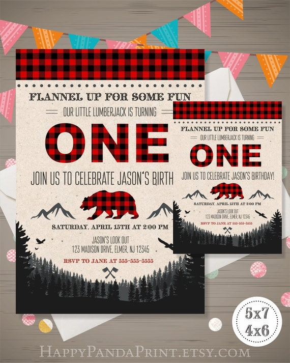 LUMBERJACK First Birthday Invitation Lumberjack