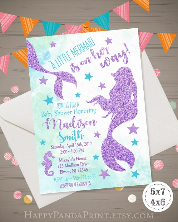 Mermaid baby shower invitation under the sea baby shower etsy image 0 filmwisefo