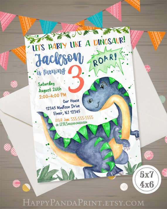 Dinosaur Birthday Invitation Watercolor