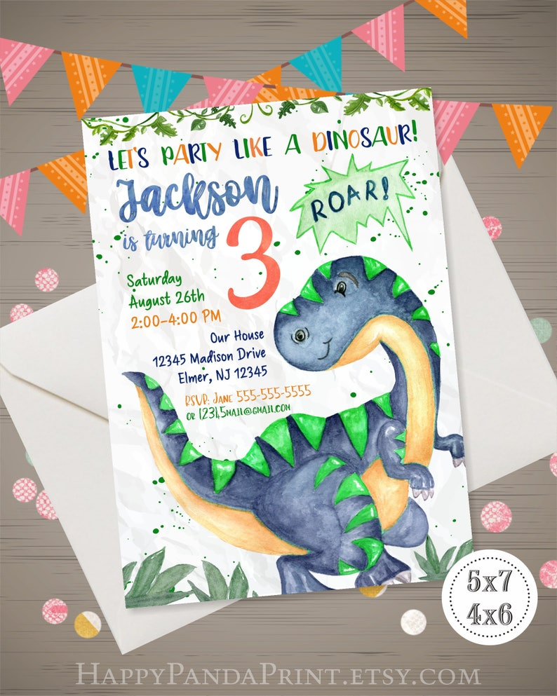 Dinosaur Birthday Invitation Watercolor Party Invite Boy 1st 2nd 3rd 4th
